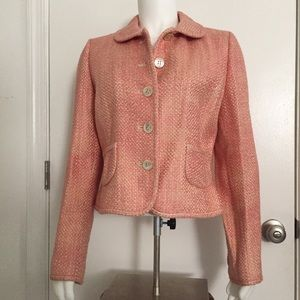 Ann Taylor Jacket Lined Coral & Cream Size 6